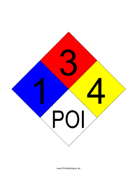 NFPA 704 1-3-4-POI Sign
