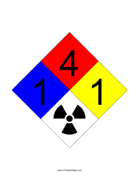 NFPA 704 1-4-1-RADIATION Sign