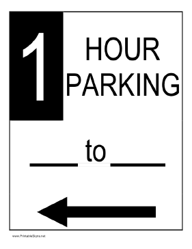 One Hour Parking to the Left Sign