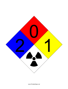 NFPA 704 2-0-1-RADIATION Sign