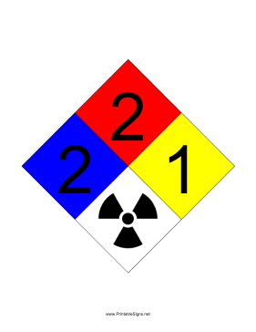 NFPA 704 2-2-1-RADIATION Sign