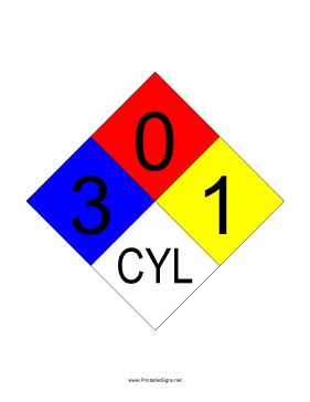 NFPA 704 3-0-1-CYL Sign