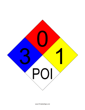 NFPA 704 3-0-1-POI Sign
