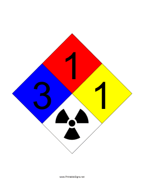 NFPA 704 3-1-1-RADIATION Sign