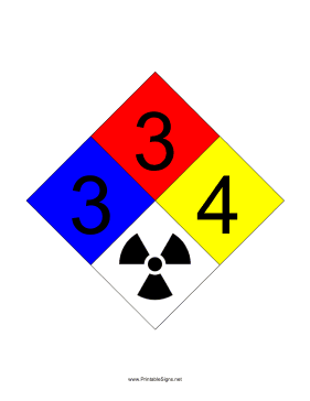 NFPA 704 3-3-4-RADIATION Sign