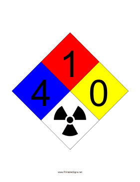 NFPA 704 4-1-0-RADIATION Sign