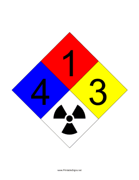 NFPA 704 4-1-3-RADIATION Sign