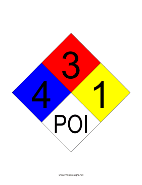 NFPA 704 4-3-1-POI Sign