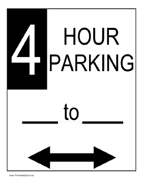 Four Hour Parking Sign