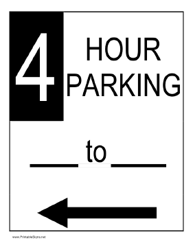 Four Hour Parking to the Left Sign