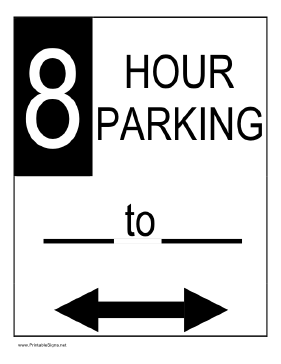 Eight Hour Parking Sign