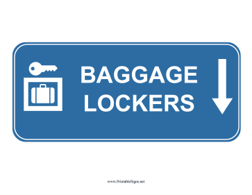 Airport Baggage Lockers Down Sign Sign