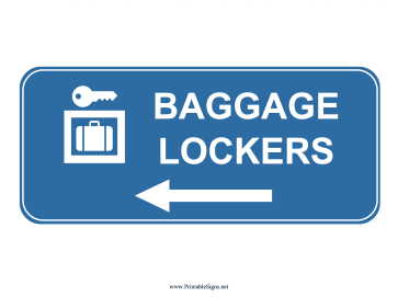 Airport Baggage Lockers Left Sign Sign