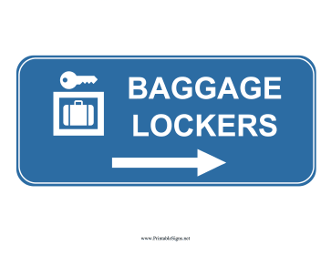 Airport Baggage Lockers Right Sign