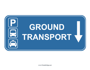 Airport Ground Transport Down Sign Sign
