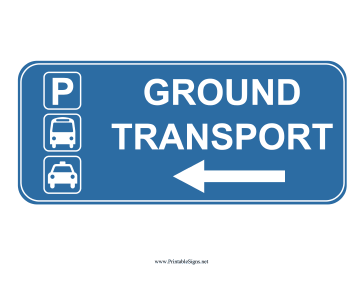 Airport Ground Transport Left Sign Sign