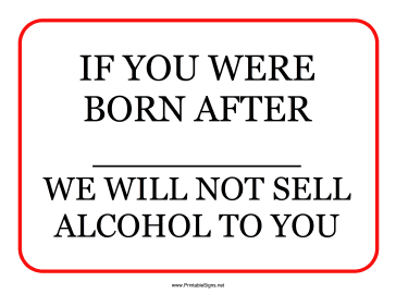 Alcohol Minimum Age Sign