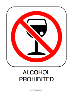 Alcohol Prohibited Sign