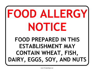 picture relating to Free Printable Food Safety Signs known as Printable Allergy Consideration Signal