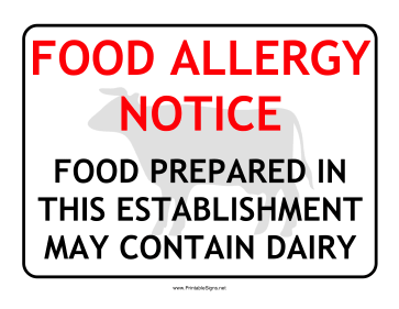Allergy Notice Dairy Sign