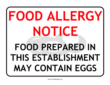Allergy Notice Egg Sign