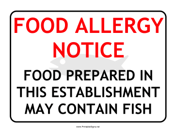 Allergy Notice Fish Sign