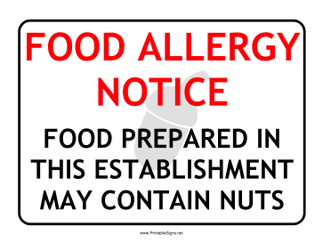 Allergy Notice Nuts Sign