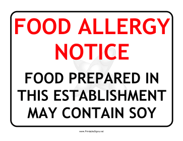 Allergy Notice Soy Sign