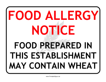 Allergy Notice Wheat Sign