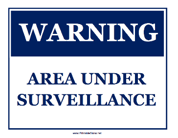 Area Under Surveillance Sign