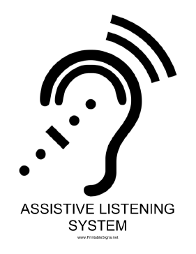Assistive Listening System with caption Sign