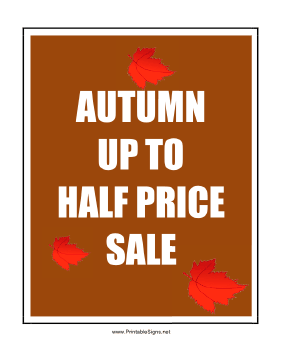 Autumn Half Price Sale Sign
