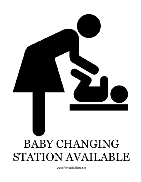 Baby Changing Station Available with caption Sign