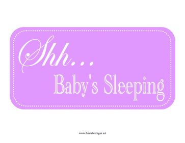 Baby Sleeping Sign Sign