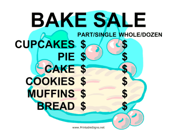 Bake Sale with Blank Price List Sign