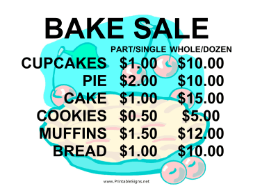 Printable Bake Sale With Price List Sign