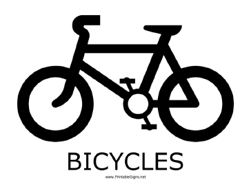 Bicycles with caption Sign
