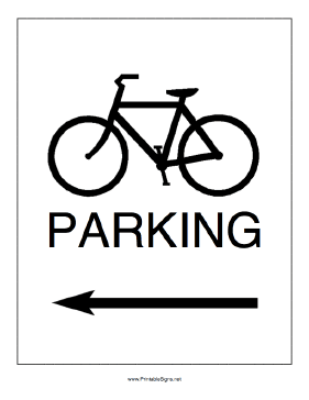 Bike Parking to the Left Sign