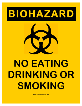 Biohazard No Eating Sign