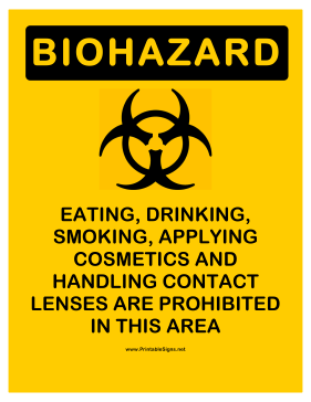 Biohazard Prohibited Activities Sign