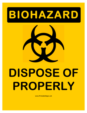 Biohazard Proper Disposal Sign