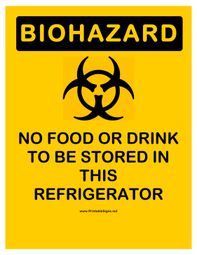 Biohazard Refrigerator Sign
