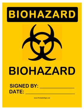 Biohazard Signed Sign