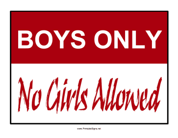 Boys Only Sign Sign