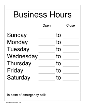 Printable Business Hours Sign - Business hours template word