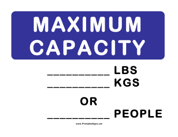 Elevator Maximum Capacity Sign