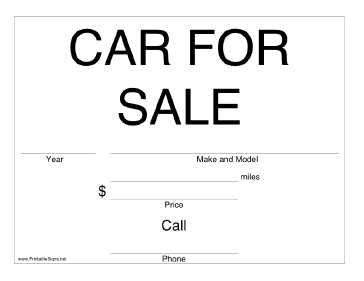 image about Printable for Sale Signs for Cars titled Printable Automobile For Sale Signal