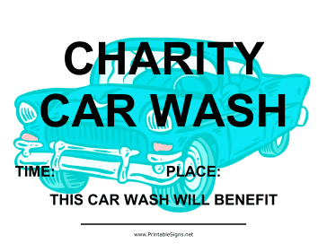 Printable Car Wash Fundraiser Sign