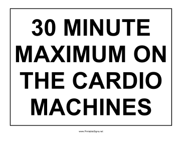 Cardio Machine Sign