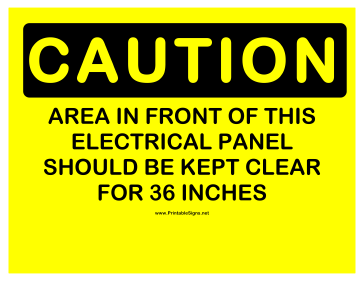 Caution 36 Inches Clearance Sign